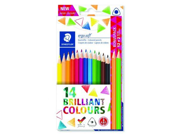 Цветни моливи Staedtler Ergosoft 157, 12+2 цвята